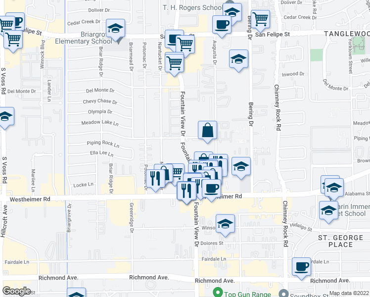map of restaurants, bars, coffee shops, grocery stores, and more near Fountain View Drive in Houston