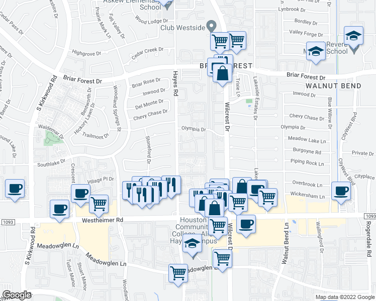 map of restaurants, bars, coffee shops, grocery stores, and more near 2201 Hayes Road in Houston