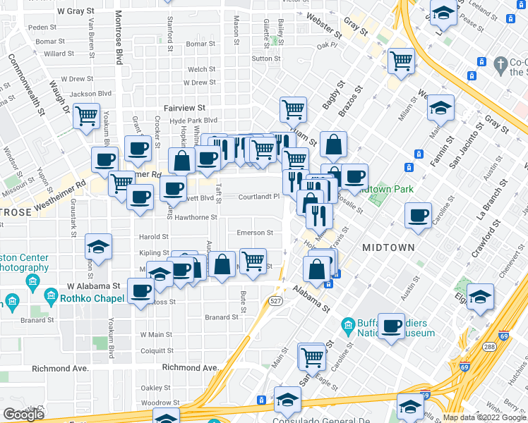 map of restaurants, bars, coffee shops, grocery stores, and more near 306 Hawthorne Street in Houston