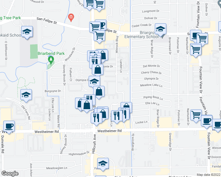 map of restaurants, bars, coffee shops, grocery stores, and more near 2306 Winrock Boulevard in Houston