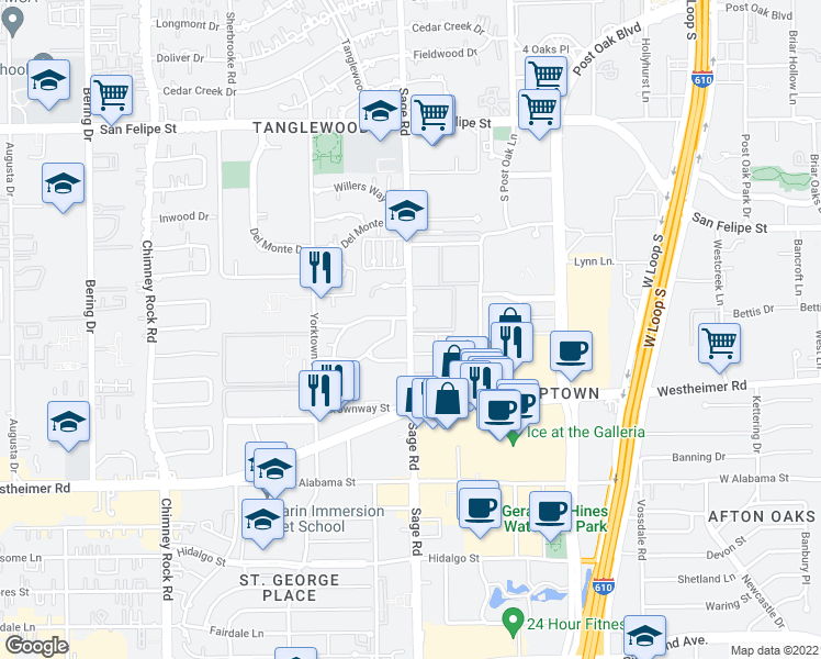 map of restaurants, bars, coffee shops, grocery stores, and more near 5201-5221 Meadowlake Lane in Houston