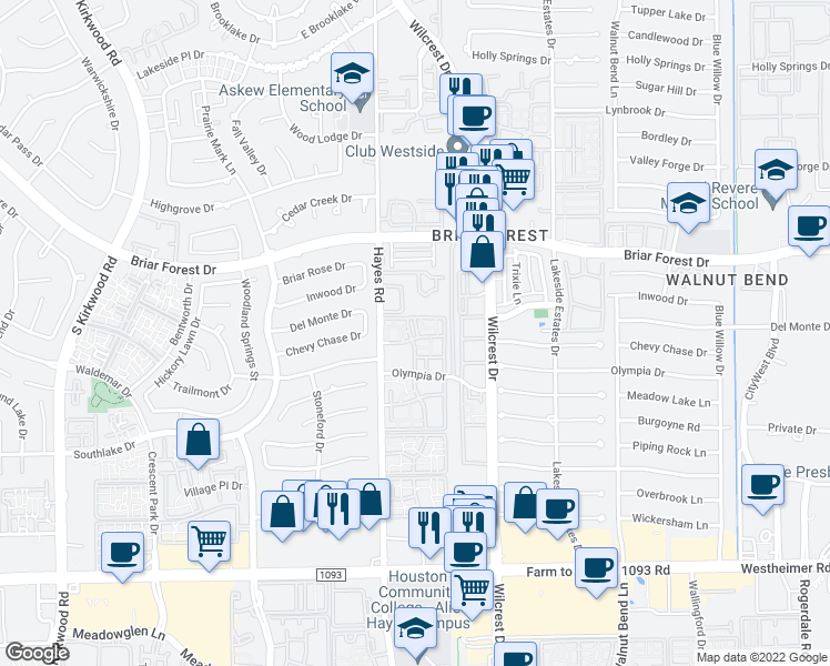 map of restaurants, bars, coffee shops, grocery stores, and more near 2101 Hayes Rd in Houston