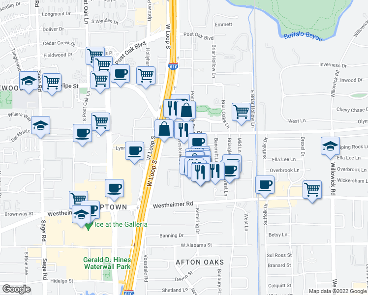 map of restaurants, bars, coffee shops, grocery stores, and more near 2031 Westcreek Lane in Houston