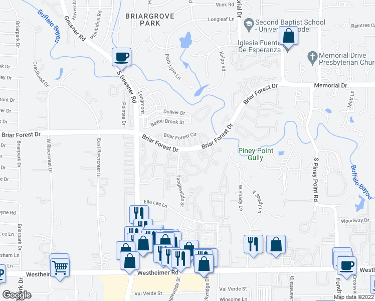 map of restaurants, bars, coffee shops, grocery stores, and more near 9402 Briar Forest Drive in Houston