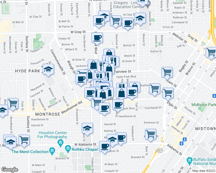map of restaurants, bars, coffee shops, grocery stores, and more near 2607 Grant Street in Houston