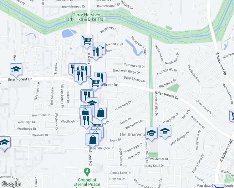 map of restaurants, bars, coffee shops, grocery stores, and more near Ashford Pkwy in Houston