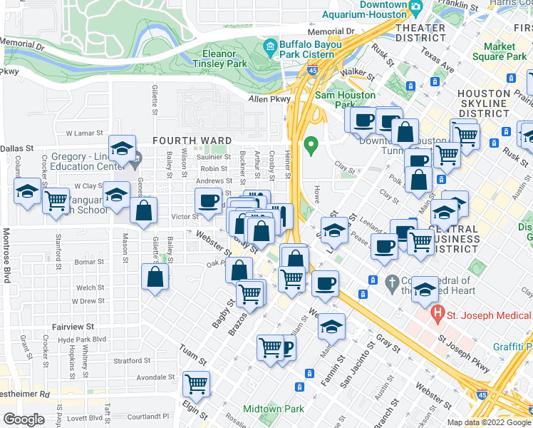 map of restaurants, bars, coffee shops, grocery stores, and more near 301 Saint Joseph Parkway in Houston