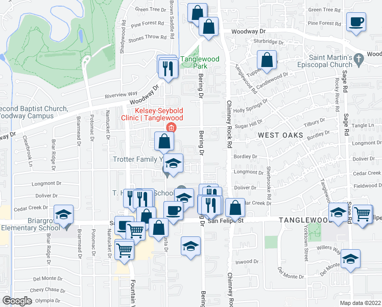 map of restaurants, bars, coffee shops, grocery stores, and more near 1100 Bering Drive in Houston