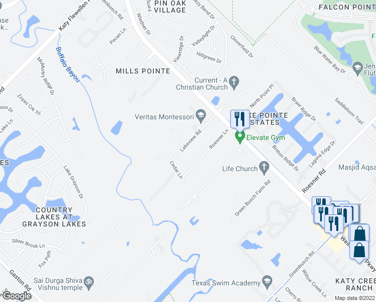 map of restaurants, bars, coffee shops, grocery stores, and more near 25203 Lakeview Road in Katy