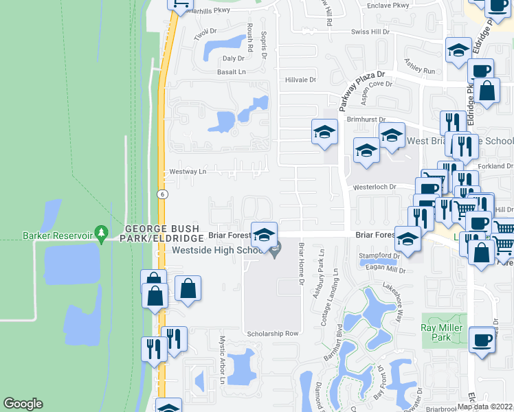map of restaurants, bars, coffee shops, grocery stores, and more near 14504 Briar Forest Drive in Houston