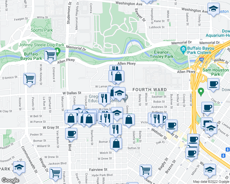 Houston And Dallas Map.W Dallas St Taft St Houston Tx Walk Score