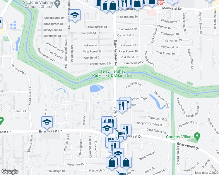 map of restaurants, bars, coffee shops, grocery stores, and more near 1200 South Dairy Ashford Street in Houston