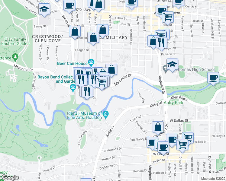 map of restaurants, bars, coffee shops, grocery stores, and more near 5401-5499 Memorial Drive in Houston