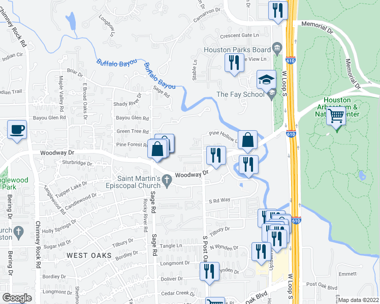 map of restaurants, bars, coffee shops, grocery stores, and more near 502 South Post Oak Lane in Houston