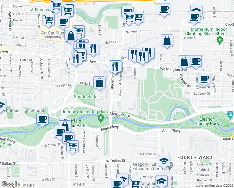 map of restaurants, bars, coffee shops, grocery stores, and more near 600 Studemont Street in Houston