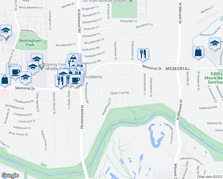 map of restaurants, bars, coffee shops, grocery stores, and more near 606 Regentview Drive in Houston