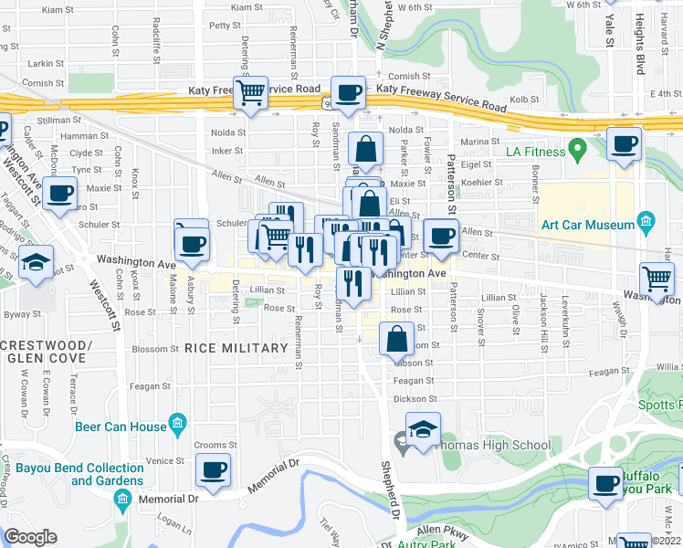 map of restaurants, bars, coffee shops, grocery stores, and more near 4950 Washington Avenue in Houston