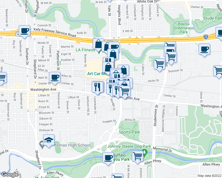map of restaurants, bars, coffee shops, grocery stores, and more near Yale St & Center St in Houston