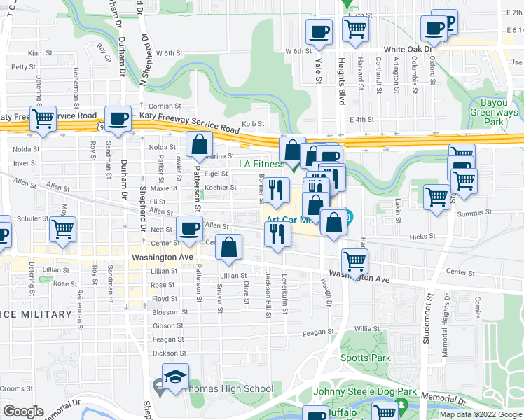 map of restaurants, bars, coffee shops, grocery stores, and more near 3399 Anderson Road in Houston