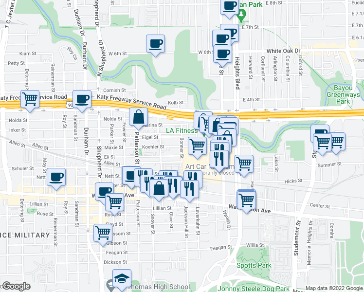map of restaurants, bars, coffee shops, grocery stores, and more near Koehler Street in Houston