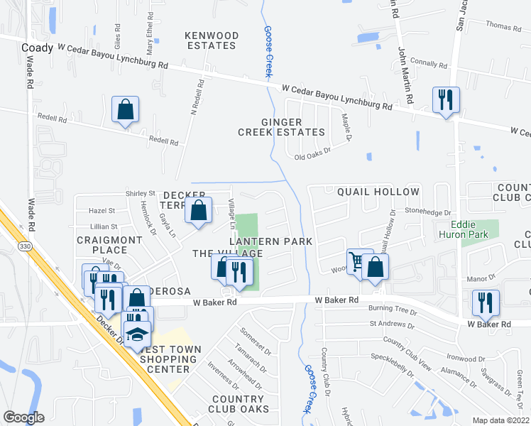 map of restaurants, bars, coffee shops, grocery stores, and more near Surrey Lane in Baytown