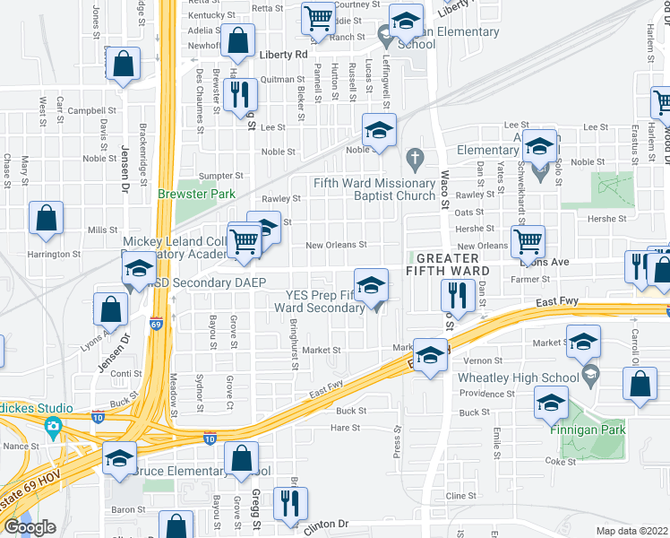 map of restaurants, bars, coffee shops, grocery stores, and more near 1613 Pannell Street in Houston