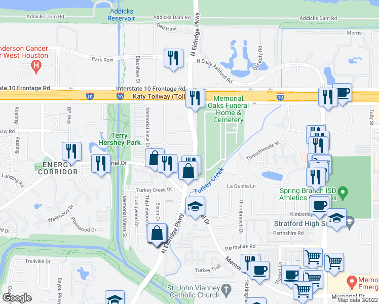 map of restaurants, bars, coffee shops, grocery stores, and more near 875 N Eldridge in Houston