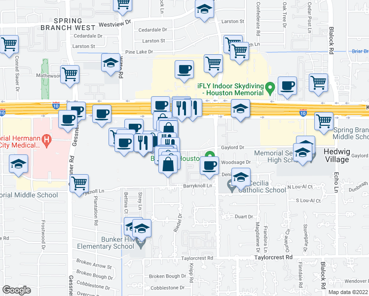 map of restaurants, bars, coffee shops, grocery stores, and more near 9870 Gaylord Drive in Houston