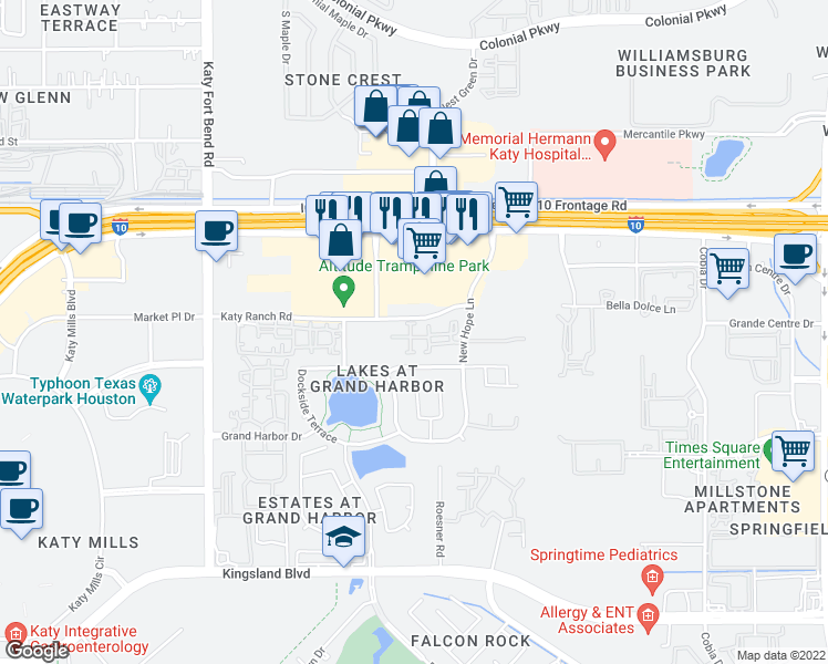 map of restaurants, bars, coffee shops, grocery stores, and more near 24929 Katy Ranch Road in Katy