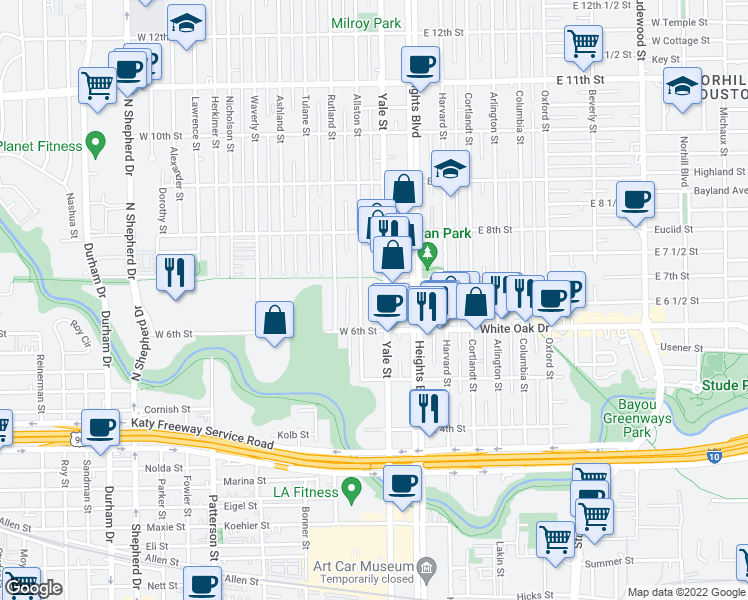 map of restaurants, bars, coffee shops, grocery stores, and more near 655 Yale Street in Houston
