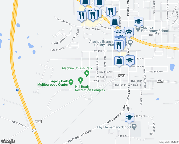 map of restaurants, bars, coffee shops, grocery stores, and more near Northwest 146 Terrace in Alachua