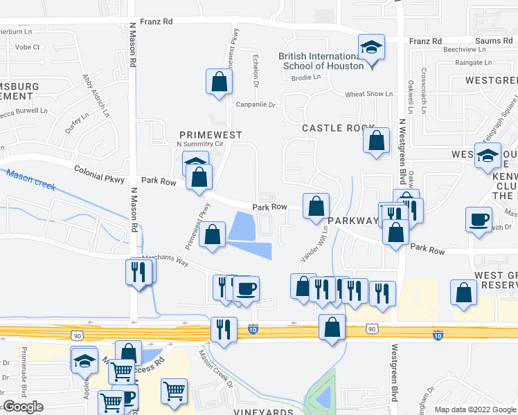 map of restaurants, bars, coffee shops, grocery stores, and more near 21043-21099 Park Row Drive in Katy