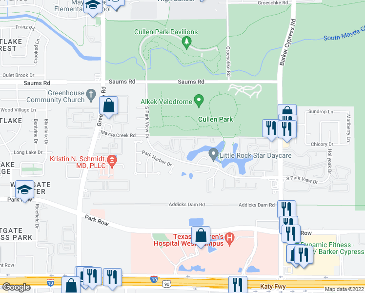 map of restaurants, bars, coffee shops, grocery stores, and more near 18600 South Parkview Drive in Houston