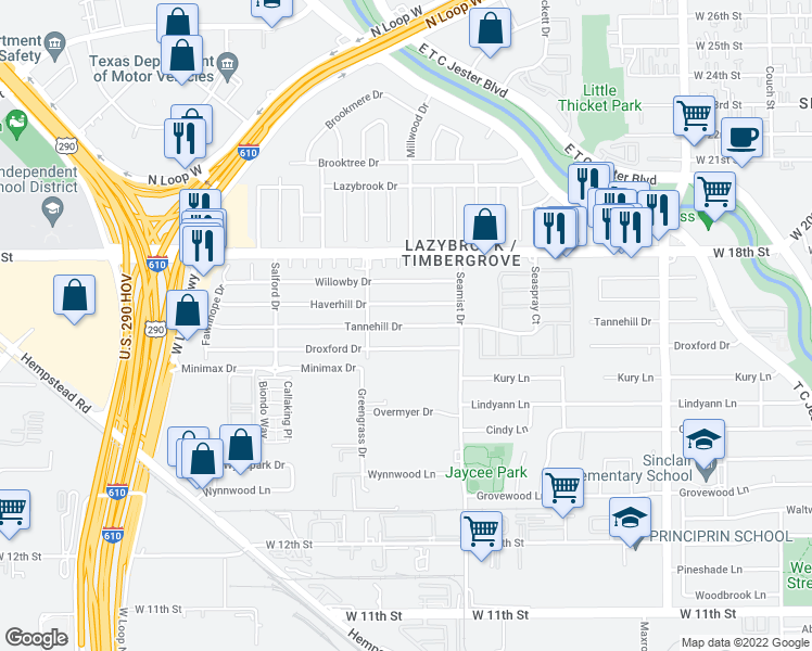 map of restaurants, bars, coffee shops, grocery stores, and more near 2310 Tannehill Drive in Houston