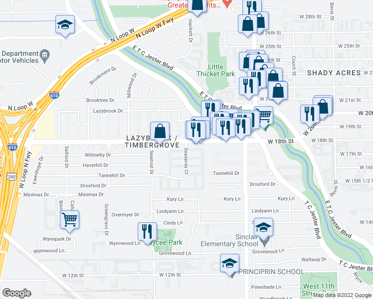 map of restaurants, bars, coffee shops, grocery stores, and more near Seaspray Court in Houston