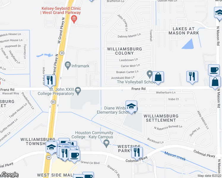 map of restaurants, bars, coffee shops, grocery stores, and more near 22800-22998 Franz Road in Katy