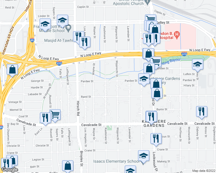 map of restaurants, bars, coffee shops, grocery stores, and more near 4914 Kashmere Street in Houston