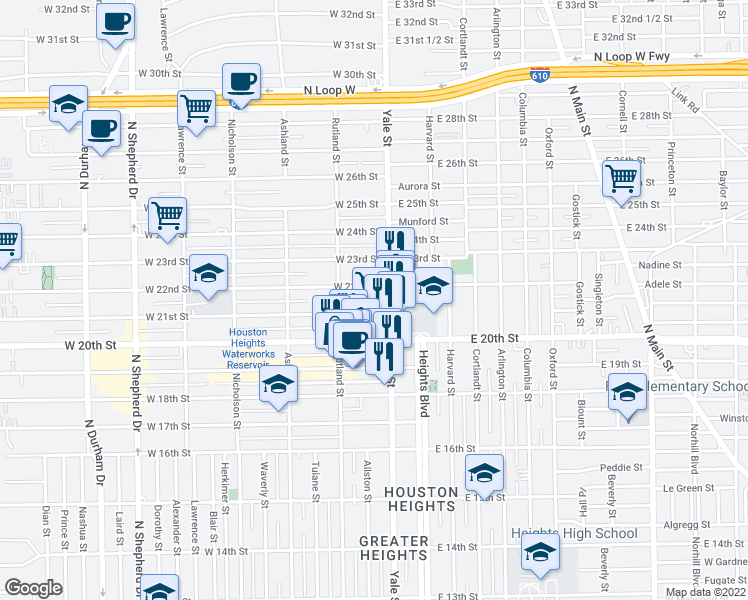 map of restaurants, bars, coffee shops, grocery stores, and more near 2125 Yale Street in Houston