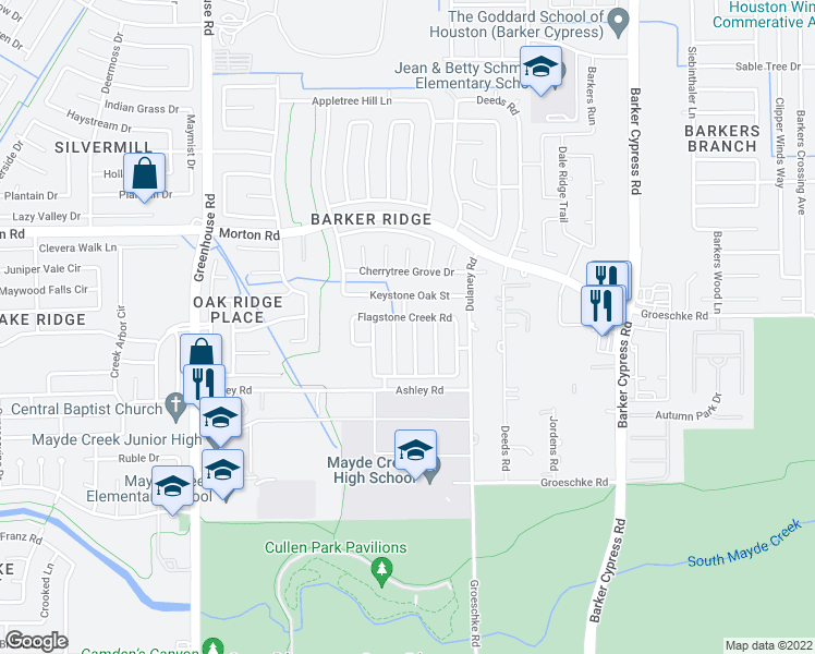 map of restaurants, bars, coffee shops, grocery stores, and more near 2943 Granite Vale Road in Houston