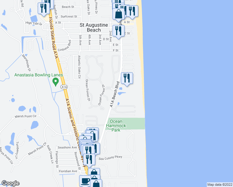 map of restaurants, bars, coffee shops, grocery stores, and more near 850 A1A Beach Boulevard in St. Augustine