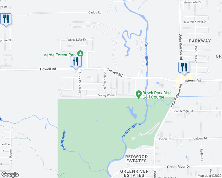 map of restaurants, bars, coffee shops, grocery stores, and more near Valley Meadow Drive in Houston