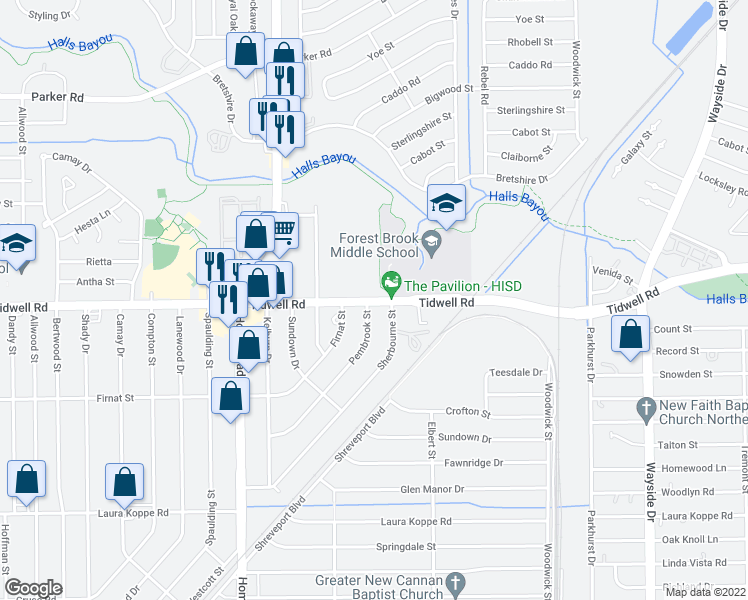 map of restaurants, bars, coffee shops, grocery stores, and more near Tidwell Road in Houston