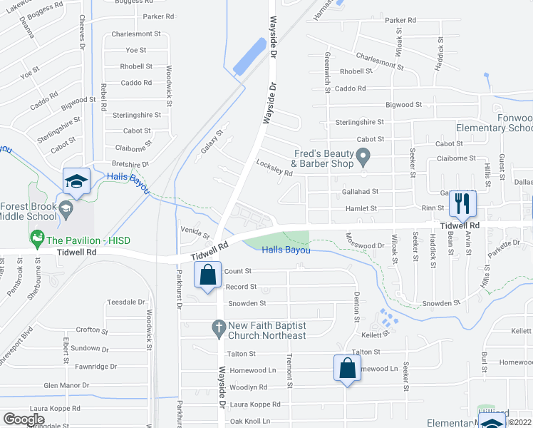 map of restaurants, bars, coffee shops, grocery stores, and more near Tidwell Fountains Ln in Houston