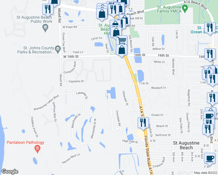 map of restaurants, bars, coffee shops, grocery stores, and more near 1352 Smiling Fish Lane in St. Augustine
