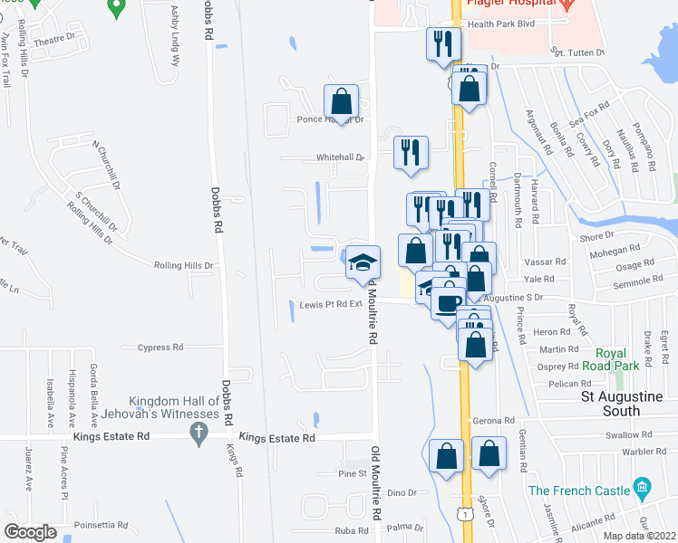 map of restaurants, bars, coffee shops, grocery stores, and more near 96 Moultrie Village Lane in St. Augustine