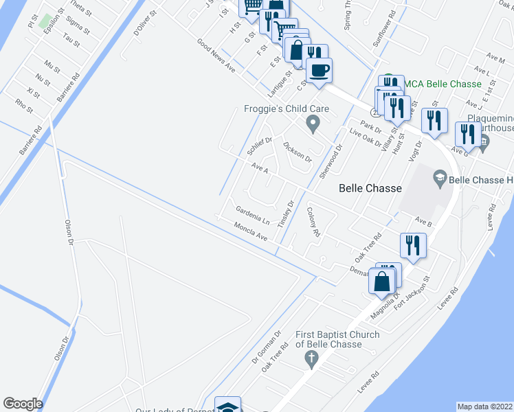 map of restaurants, bars, coffee shops, grocery stores, and more near 122 Lake Park Drive in Belle Chasse
