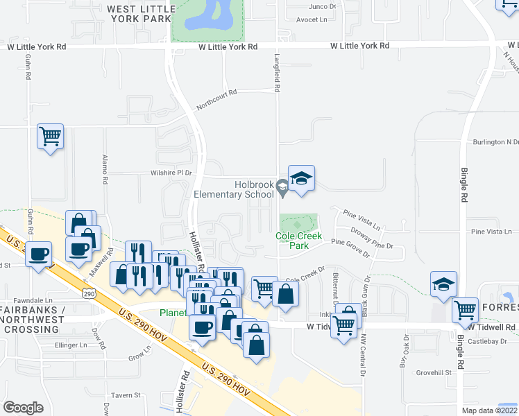 map of restaurants, bars, coffee shops, grocery stores, and more near Wilshire Lakes in Houston