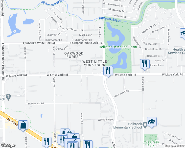 map of restaurants, bars, coffee shops, grocery stores, and more near 7740 West Little York Road in Houston