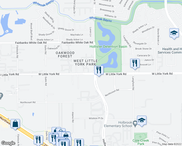 map of restaurants, bars, coffee shops, grocery stores, and more near 7701 Hollister Street in Houston