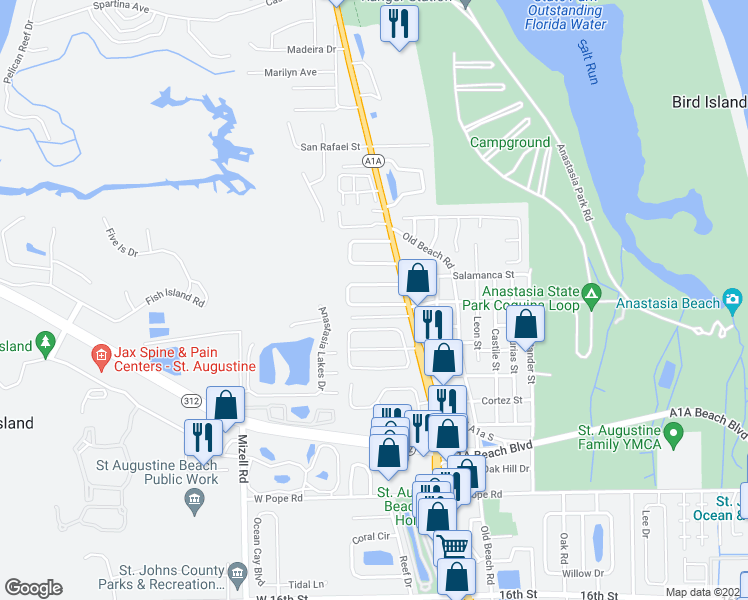 map of restaurants, bars, coffee shops, grocery stores, and more near 41 Sea Park Drive in St. Augustine